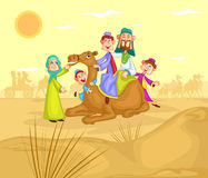 Muslim family riding on camel ride. In vector Royalty Free Stock Image