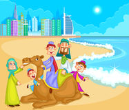 Muslim family riding on camel ride. In vector Stock Photos