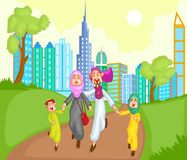 Muslim family running with kid Royalty Free Stock Image