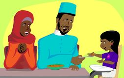 Muslim Family Snack Time royalty free stock images