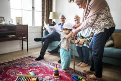 Muslim family spending time together stock image