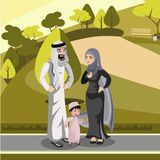 Muslim family standing in the park royalty free illustration