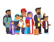 Muslim Family Traveling Days Vector Illustration. Muslim family traveling together, refugee people isolated on white, mother father and little children, vector stock illustration