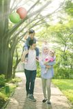 Muslim family walk in park Stock Photography