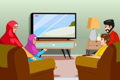 Muslim Family Watching TV at Home Illustration stock illustration