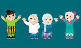 A Muslim family waving their hands. Vector for Malay Muslim culture. With color background Royalty Free Stock Photo