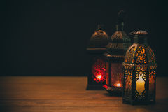 The Muslim feast of the holy month of Ramadan Kareem. Beautiful background with a shining lantern Fanus. Free space for your text Royalty Free Stock Photos