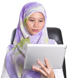 Muslim Female With Computer Tablet III Royalty Free Stock Photos