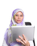 Muslim Female With Computer Tablet VI Royalty Free Stock Image