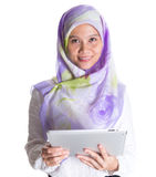 Muslim Female With Computer Tablet XI Royalty Free Stock Images