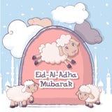 Muslim Festival Eid-Ul-Adha banner, cartoon style. Muslim Festival Eid-Ul-Adha banner concept. Isometric illustration of Muslim Festival Eid-Ul-Adha vector Stock Photography