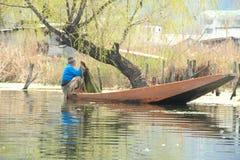 Fishing in dal lake. Royalty Free Stock Photo