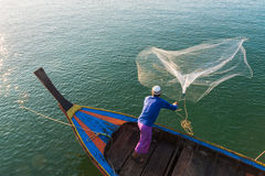Muslim Fisherman Fishing Nets,Andaman Sea off the coast, Ranong Southern Thailand Stock Images