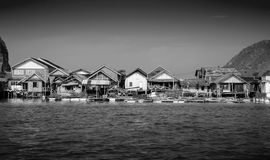 Muslim floating village at Panyee island (Black and White) Stock Photography
