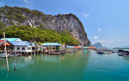 Muslim floating village at Panyee island Royalty Free Stock Photos