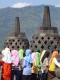 Muslim girl. S at borobudur temple Stock Images