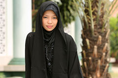 Muslim Girl. Beautiful Muslim girl in a black outfit Royalty Free Stock Photography