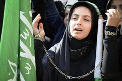 Muslim girl Ashura mourning royalty free stock photo