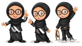 Muslim girl in black costumes