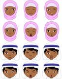 Muslim girl in a burqa and boy in a keffiyeh emotions: joy, surp Royalty Free Stock Photos