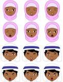 Muslim girl in a burqa and boy in a keffiyeh emotions: joy, surp Stock Photo