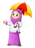 Muslim girl cartoon holding umbrella. Illustration of Muslim girl cartoon holding umbrella Stock Image