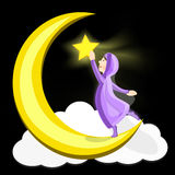 Muslim girl on the crescent moon with star in her hand Stock Photo