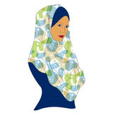 Muslim girl dressed in colored hijab Royalty Free Stock Images