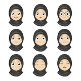 Muslim Girl Emotion Faces Cartoon.Women Expression Faces. Stock Photos