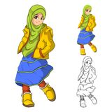 Muslim Girl Fashion Wearing Green Veil or Scarf with Yellow Jacket and Boots stock illustration