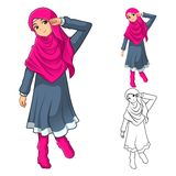 Muslim Girl Fashion Wearing Green Veil or Scarf with Yellow Jacket and Boots Stock Images