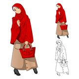 Muslim Girl Fashion Wearing Green Veil or Scarf with Yellow Jacket and Boots royalty free illustration