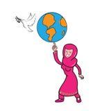 Muslim girl globe peace Stock Images