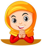 Muslim girl with head scarf praying Royalty Free Stock Images