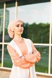 Muslim girl in hijab. Outdoor. Muslim business woman Stock Photography