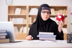 The muslim girl in hijab studying preparing for exams Royalty Free Stock Images