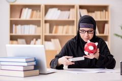 The muslim girl in hijab studying preparing for exams Royalty Free Stock Photo