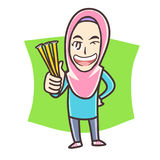 Muslim girl holding honey stick Royalty Free Stock Image