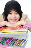 Muslim girl learning. Back to school Royalty Free Stock Photo