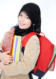 Muslim girl learning. Back to school Royalty Free Stock Image