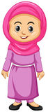 Muslim girl in pink costume Stock Images