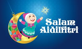 A Muslim girl playing fireworks on a swinging moon, with Malay pattern background. Vector for Hari Raya Puasa or Aidilfitri. The words `Salam Aidilfitri` means Stock Images