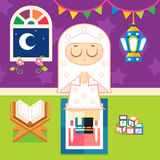 Muslim girl Praying royalty free illustration