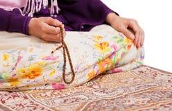 Muslim girl praying at mosque royalty free stock image