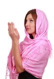 Muslim girl prays Stock Images