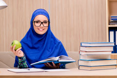 The muslim girl preparing for entry exams Royalty Free Stock Image