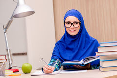 The muslim girl preparing for entry exams Royalty Free Stock Photos