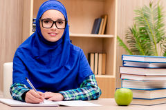 The muslim girl preparing for entry exams Royalty Free Stock Photo