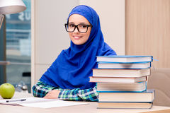 The muslim girl preparing for entry exams Royalty Free Stock Images
