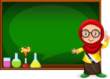 Muslim Girl Presenting With Blackboard Stock Images